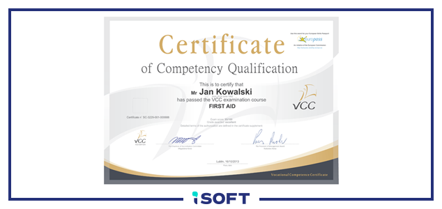 certyfikat vcc - isoft.biz.eu